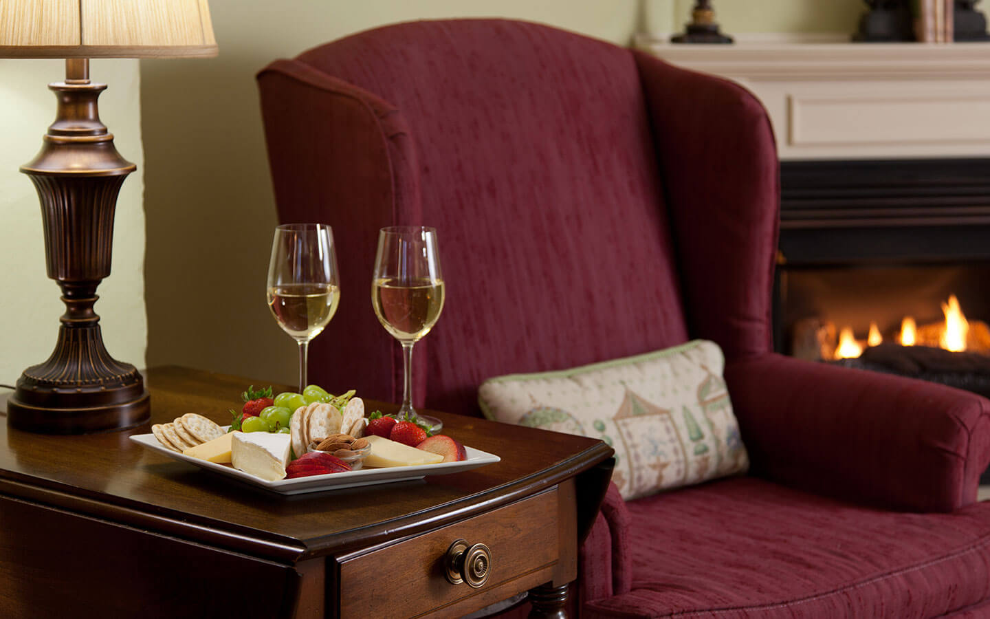 Enhance your stay at our Virginia bed and breakfast with fine wine and cheese delivered to your room