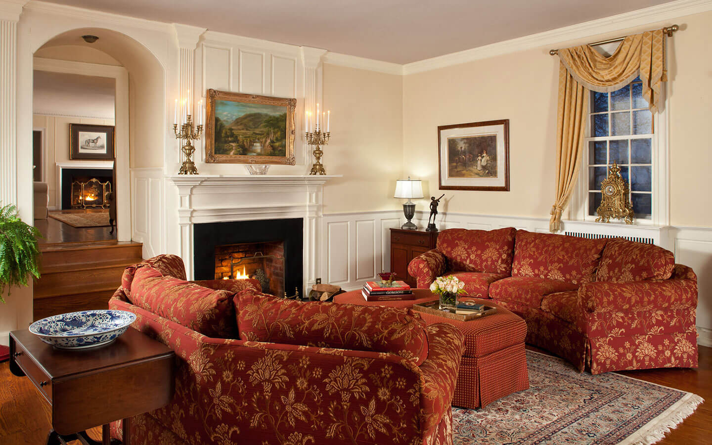 Luxury sitting area with gas fireplace at our bed and breakfast near Orange, VA