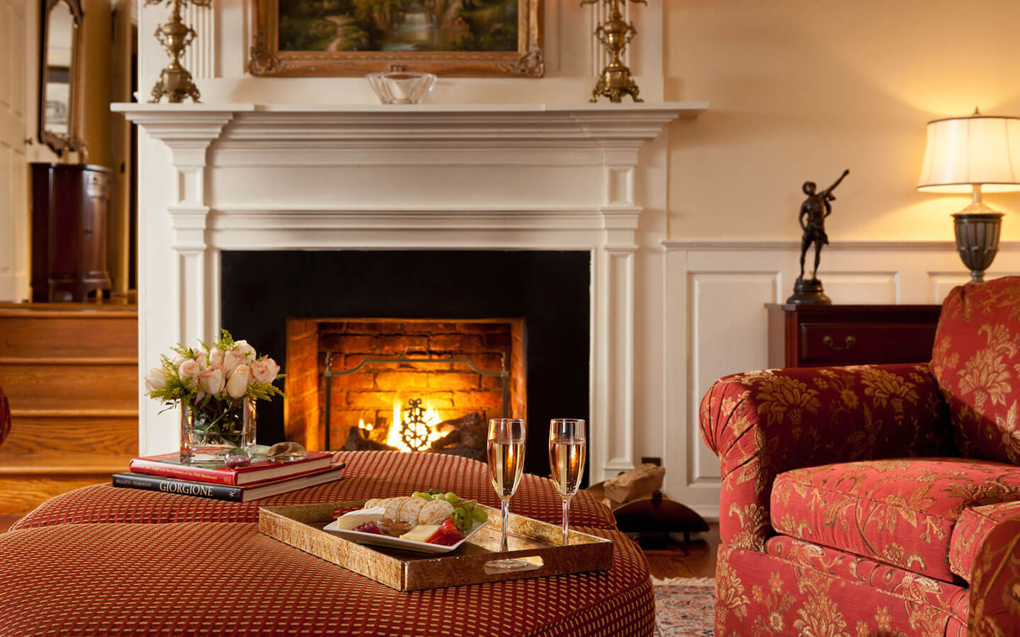 Cozy gas fireplaces grace every room at our romantic Virginia bed and breakfast